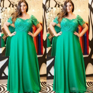 Plus Size Green Mother Of The Bride Dresses square neck Lace Appliqued Short Sleeves A Line Chiffon Custom Formal Wedding Guest Dresses