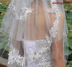 Nouvelle haute qualité Mode élégant Blanc Longueur poignet Ivoire Applique deux couches peigne en alliage Edge Cut Veil Wedding Meidingqianna Marque