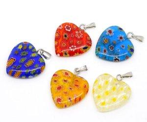 lovely 20 mixed millefiori glass lampwork heart charm pendants b09349 beautiful necklaces pendants supplies
