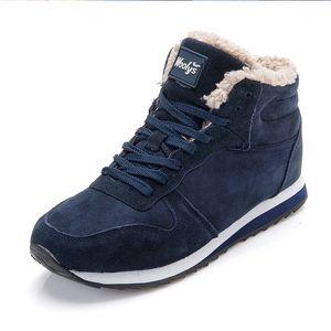 Hombres Zapatos de invierno para Hombres Botas Moda Zapatillas de deporte de invierno Botas de nieve Tallas grandes Botas de tobillo Botines Hombre Black Blue Mans Calzado