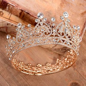 Vintage Büyük Tiara De Noiva Prenses Tam Daire Rhinestones Kraliçe Taç Düğün Gelin Saç Takı Gelin Aksesuarları Diadem XH