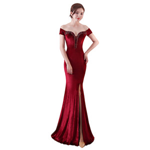 Off The Shoulder Red Mermaid Velvet Evening Dress Long Party Dresses Womens Evening Gowns Graduation Dress Gown Women