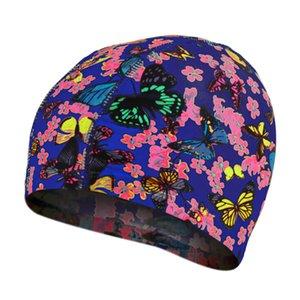 Elastic Fabric Cute Cartoon Swimming Caps For Long Hair Lovely Kids Cartoon Protect Ears Swim Pool Hat For Women Boys Girls