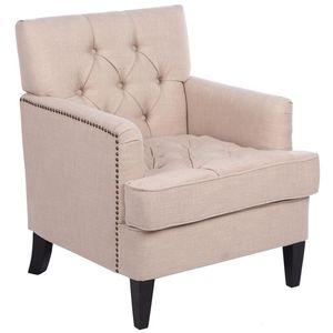 71 * 80 * 86CM classica in tessuto divano divano singola con pulsante Beige per soggiorno, Reception Room, Waiting Area