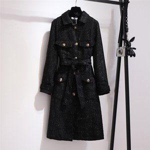 Temperament thin Long Tweed Trench Coat Large Size 6XL Women's Windbreaker Spring Autumn Coats black Overcoats N1168