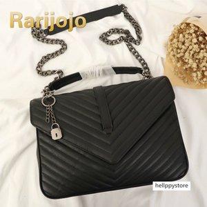 Rarijojo Новые женщины прилив ромбовидной цепной женской сумочке ретро мессенджер роскошные кожаные сумки плечо сумка