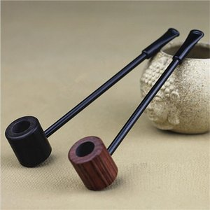 Explosion Ebony Wood Pipe Smoking Pipes Portable Smoking Pipe Herb Tobacco Pipes Grinder Smoke Gifts Black Coffee 2 Colors