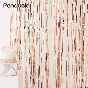 Rose Gold Metallic Foil Tinsel Fransevorhang Tür Regen Hochzeit Geburtstag Partei-Dekoration Hintergrund-Hintergrund Foto Props