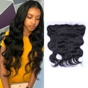 Peruvian Human Hair Body Wave Frontal Pre Plucked Virgin Hair 13x4 Lace Frontal Closure Three Middle Free Part Frontal