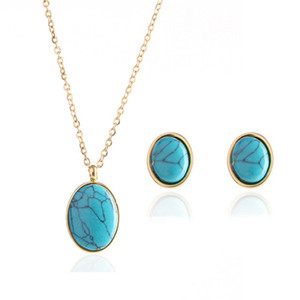 Wholesale 5 Set Gold Plated Oval Shape Green Turquoises Stone Pendant Link Chain Necklace Stud Earrings for Women Jewelry Sets