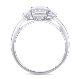 Transgems 18k 585 White Gold Moissanite Engagement Ring Center 6x8mm F Color Moissanite Emerald Cut 3 Stone Engagement Ring J 190427