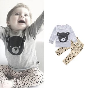 2020 INS, European and American Wind boy suit, cotton bear bear print + leopard two piece. SK-028