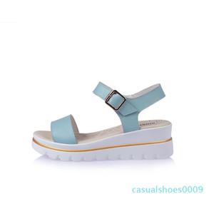Couro WEIBATE Wedge Sandals Mulheres Verão New Wedge Heel Plataforma Waterproof Platform Roman fivela palavra Wild Women Sandals c09