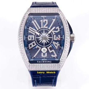 Top version YACHTING V45 SC DT YACHTING OG Date Diamond Dial Miyota 8215 Mechanical Mens Watch Silver Diamonds Case Luxry Designer Watches