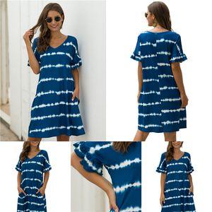 CHAMSGEND Dress Boho Ladies Print V-Neck Three Quarter Sleeve Women'S Dress Casual Autumn Mini Loose Plus Size 20.JULY.15#884