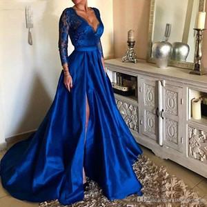 로얄 블루 깊은 V 넥 레이스 긴 댄스 파티 드레스 높은 사이드 분할 긴 소매 이브닝 가운 플러스 사이즈 스윕 기차 Vestidos 드 축제 Ogstuff