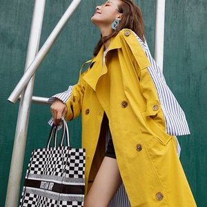 Korean Women Clothes 2018 Autumn Windbreaker Female Long Coat New Style Striped Stitching Yellow Winter Trench Coat V191025