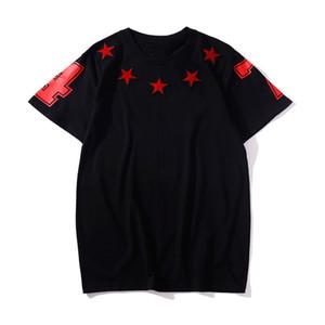 Herren-T-Shirts Männer Frauen Hip Hop-T-Shirt mit kurzen Ärmeln Mode fünfzackigen Stern-Druck Mens Stylist-T-Shirt Größe S-3XL