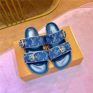 Louis Vuitton New Luxury Pantoffeln Damen Designerschuhe Art und Weise Leder-Sommer-beiläufige Wohnungen Sandalen Flip-Flops hoher Qualität drucken