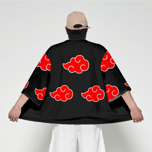 اليابان أنيمي ناروتو الهوكاجي الاكاتسوكي تأثيري كيمونو haori الرجال النساء سترة قميص سترة يوكاتا مع أوبي الملابس اليابانية التقليدية