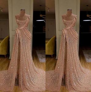2020 Новые длинные золотые вечерние платья высокого разделителя RUCHED Pageant платье формальная вечеринка выпускные платья робичка de soiree abendkleider bc3680