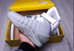 Le plus Air Mag Back To The Future Glow In The Dark Bottes Gris Gris Noir Rouge Marty Mcfly '; S Led Shoes illumine Marty Mcflys Mags Wit