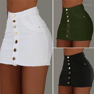 Short Skirts Solid Color Casual Womens Dresses Womens Designer Skirts Summer Burrs Single Breasted High Waist