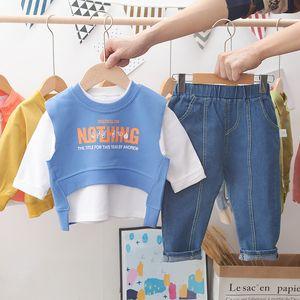2020 New Autumn Toddler Boys Clothes 3PCS Long Sleeve T shirt+Vest+Jeans Spring Kids Baby Sets Fashion Boutique Boys Suits
