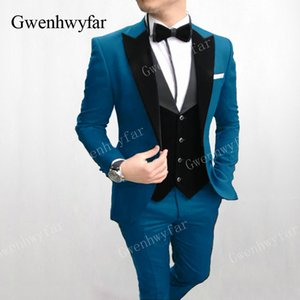 Gwenhwyfar Костюм Homme Lake Blue Формальные Свадебные Костюмы Для Мужчин На Заказ Мужские Костюмы Ternos Masculino Slim Fit Смокинг 3 Шт.