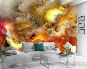 Taille sur mesure Tous 3d Fonds d'écran colorés Nuages dans le ciel haut-end romantique Intérieur Avec Silk Wallpaper