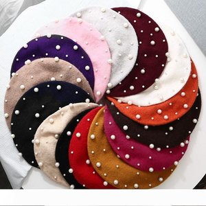 Women Winter Wool Berets Pearl Rivet Caps for Girls Vintage Cashmere Female Warm Beret Hats Girls Flat Cap Beret Gifts
