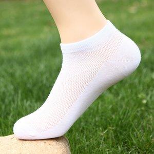Mens Designer Pure Color Boat Socks Mens Cotton Mesh Moisture Wicking Breathable Mid Socks Fashion Mens Designer Socks