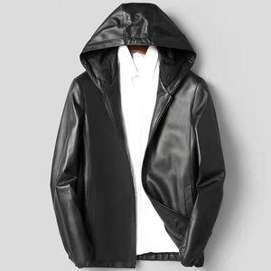 Veste Homme 100% Collier en peau de mouton en cuir d'affaires Veste en cuir naturel Manteau de haute qualité à capuchon H55