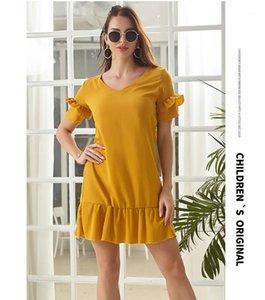Breve manicotto vestiti dalle signore di estate veste Collo Ruffle Donne Solid casuale Color Designer Abiti V