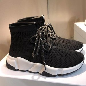 Paris Designer Speed Trainer Stretch Knit Mid Black White Fashion Top Breathable Socks Shoes Men and women Casual Shoes 35-46 t26