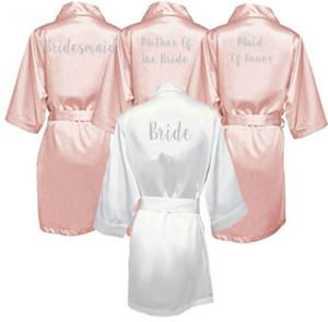 Dark Pink Robe Silver Letter Кимоно атласная пижама Свадебное одеяние невесты сестра Матери невесты Одежд