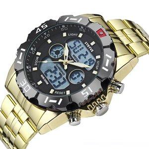 Stryve 8011 relojes impermeables hombres del deporte del acero inoxidable de cuarzo digital de pantalla dual reloj Montre homme