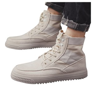 Men's Fashion Round Head Scrub Personality High Boots With Tooling Boots