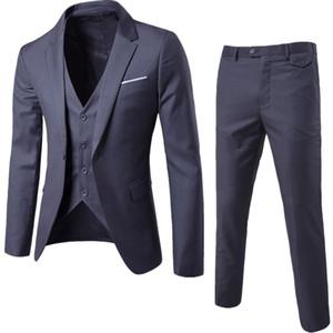 Nuevos trajes de hombre Four Seasons Business Casual Trajes delgados Novios Vestidos de novia de dama de honor Traje de un botón Conjunto de traje (chaqueta + pantalón + chaleco)