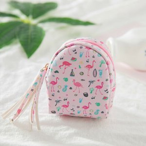 2019 Baby Girl PU Printing Purses Cute Women Mini Coin Flamingo Wallet Card Backpack Purse Bag Keys Pouch Gift Purses
