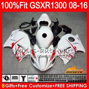 Iniezione per SUZUKI Hayabusa GSXR1300 08 18 GSXR 1300 25HC.157 GSXR-1300 2008 2009 2010 2011 bianco lucido 2012 2013 2014 2015 2016 2016 Carenatura