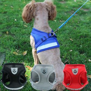 MOQ 1set Chien Chat Harnais réfléchissant marche plomb Chiens Polyester Mesh animal Harnais avec laisse 4 couleurs pour Cute Teddy Puppy