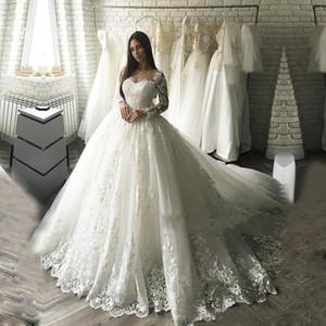 Vestido de novia de lujo de Dubai Vestido de novia 2019 Vestido De Noiva Vestidos de novia con apliques de encaje Robe De Mariage Wedding Dresse