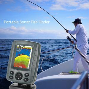 "Sonar portátil Fish Finder 3.5 ""LCD Boat Finder 0.6M a 300M ecosonda 200KHz / 83KHz Detector de peces de haz de duelo Localizador de profundidad"