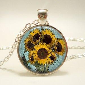 New Fashion Van Gogh tournesol Cabochon en verre Pendentif Colliers Bijoux Cadeaux d'artisanat __gVirt_NP_NNS_NNPS<__ main cadeaux les drôles pour les femmes hommes