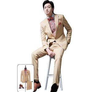 Bridalaffair Slim Fit Khaki 2Piece Suit Men Wedding Tuxedos Bridegroom Groomsmen Suits Men Business Party Prom Blazer(Jacket+Pant)