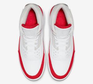 3 3s cambio Tinker rojas tres zapatos blanco rojo del baloncesto Nuevo 2019 zapatillas de deporte para hombre formadores con la caja