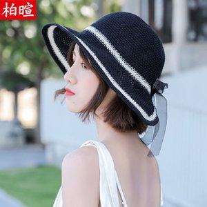 Net Red Hat shopping d'été de paille coréenne version féminine Baitao antisolaires Shade Les pêcheurs touristiques, Cap Mer Plage Cap Ombrelle
