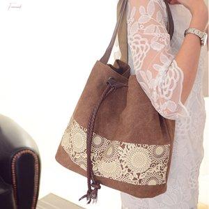 Women Shoulder Bags 2020 New Large Capacity Ethnic Style Bag Canvas Shopping Bag Messenger Bag Casual Handbag Bolsa Feminina