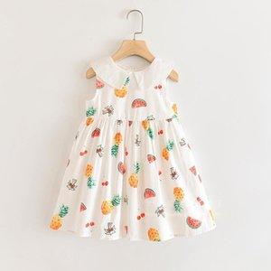 Humor Bear Girls Dress Summer Fruit Printed Striped Lace Girls Party Sleeveless Princess Dress Baby Kids Girl Clothing